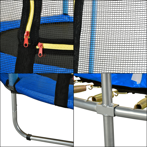 """60"""" Round Outdoor Trampoline with Enclosure Netting Blue"""