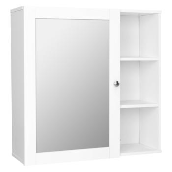 FCH Single Mirror Door 3 Compartment Storage Cabinet MDF Spray Paint white Bathroom Wall Cabinet