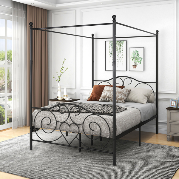 Metal Canopy Bed Frame with Vintage Style Headboard & Footboard / Easy DIY Assembly/ All Parts Included, Full White