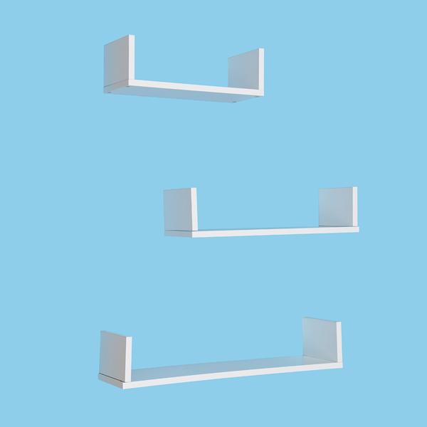 3 Pcs U-shaped Floating Wall Shelves