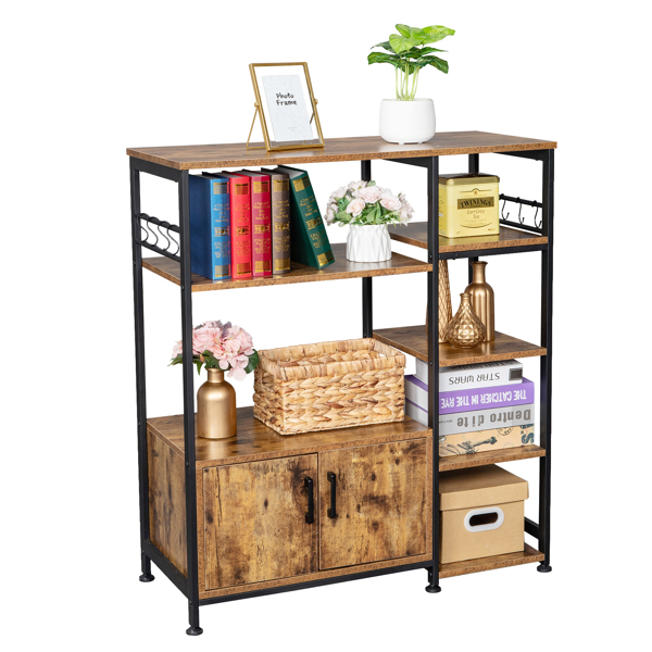 Multiuse 5-Tier Metal Kitchen Bakers Rack, Microwave Storage Rack Oven Stand with Wine Storage Organizer Workstation,Particleboard Industrial Kitchen Shelf