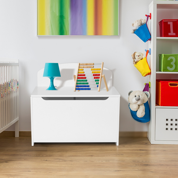 Wooden Toy Box and Storage Chest,Entryway Bench with 2 Safety Hinges,White Color
