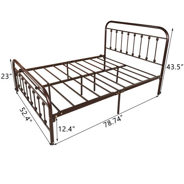 Vintage Full Metal Bed Frame with Headboard and Footboard Platform/Wrought Iron/Heavy Duty/Solid Sturdy Metal Slat/Rustic Brown/No Box Spring Needed
