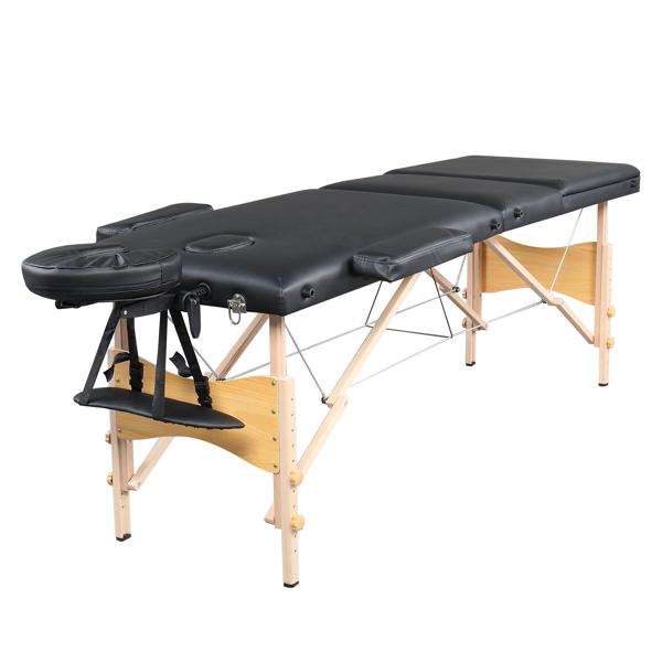 "84"" 3 Sections Folding Portable Beech Leg Beauty Massage Table 60CM Wide Adjustable Height Black"