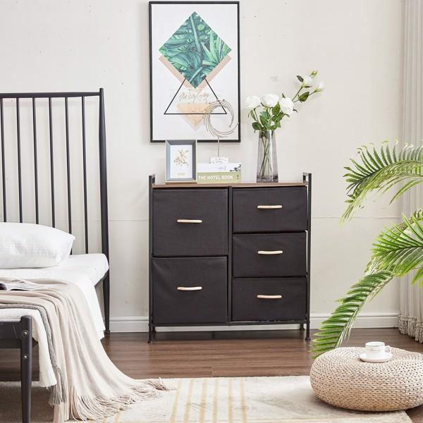 5 Drawer Dresser Storage Organizer, Fabric Organizer Unit, Easy Pull Bins with Steel Frame, Wood Top Closets for Entryway Hallway Bedroom