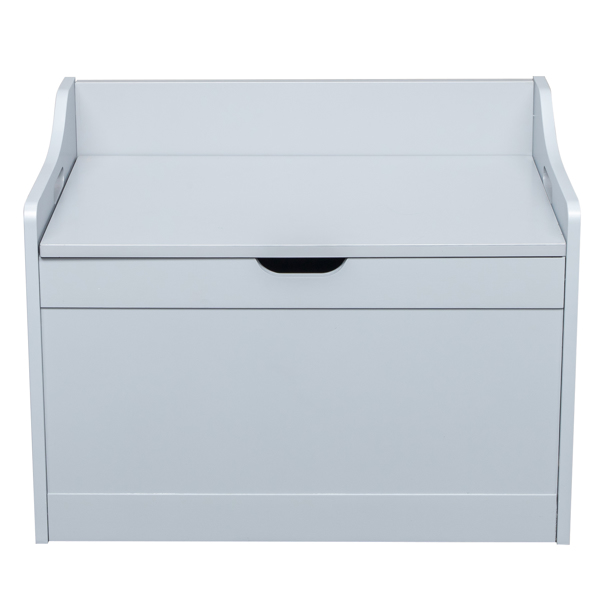 Storage Chest, Entryway Bench with 2 Safety Hinges, Wooden Toy Box, Gray