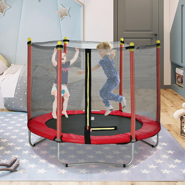 """60"""" Round Outdoor Trampoline with Enclosure Netting Red"""