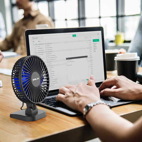 USB Desk Fan, Small but Mighty, Quiet Portable Fan for Desktop Office Table, 40° Adjustment for Better Cooling, 3 Speeds, 4.9 ft Cord(亚马逊禁售)