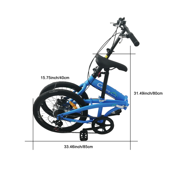 20in High Carbon Steel Bearing 100kg Foldable Adult Leisure Bicycle Blue(Do  not  sell  on Amazon )