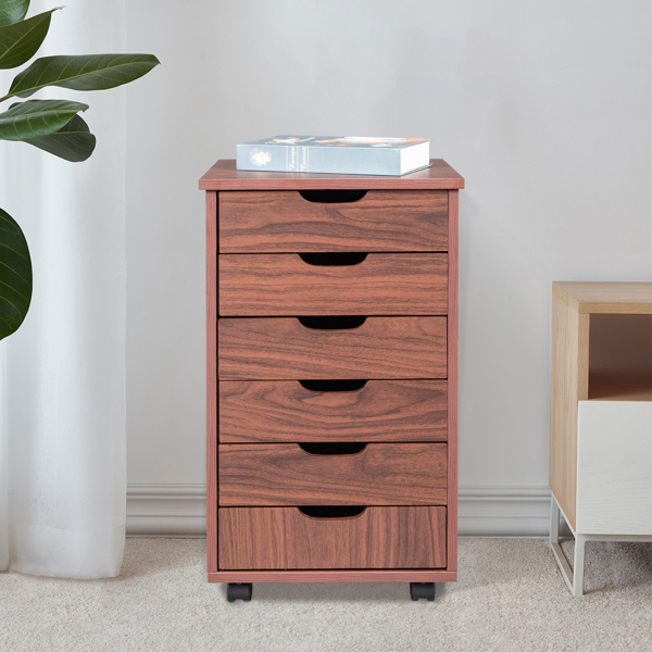Six Drawers MDF With PVC Wooden Filing Cabinet Dark Walnut Color