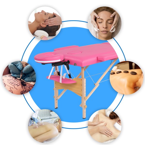 """84"""" 2 Sections Folding Portable Beech Leg Beauty Massage Table 60CM Wide Adjustable Height Pink"""