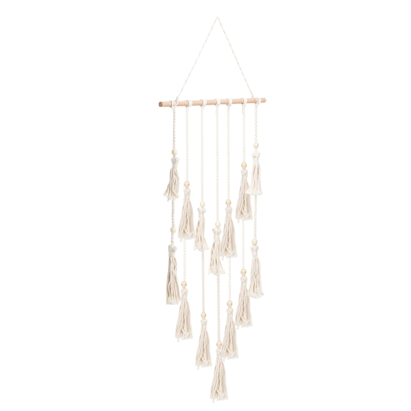 Hanging Photo Display Macrame Wall Hanging Pictures Organizer Boho Home Decor, with 30 Wood Clips, Birthday, Ivory