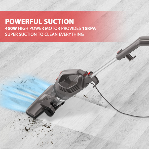 【Not available for sale on Amazon&Walmart】Wired Vacuum Cleaner, Lightweight Upright Corded Bagless Handheld 15KPa Vacuum with Efficient HEPA, Floor Brush, Gap Nozzle