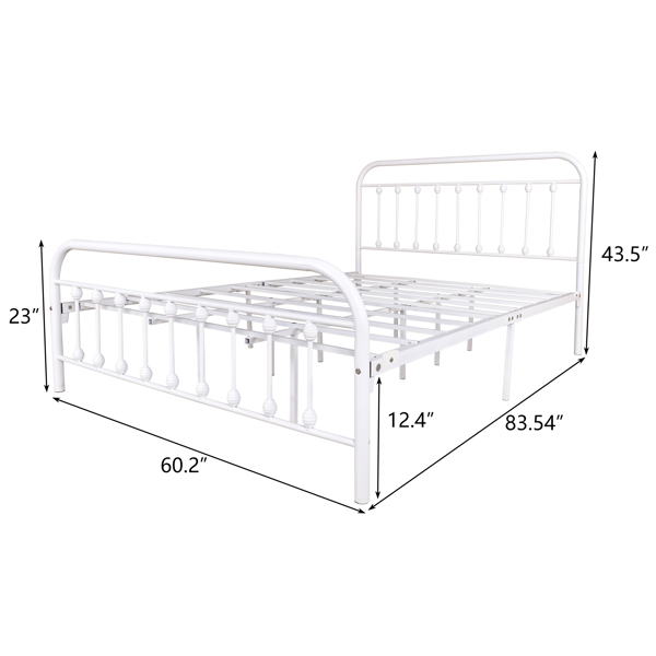 Vintage Queen Metal Bed Frame with Headboard and Footboard Platform/Wrought Iron/Heavy Duty/Solid Sturdy Metal Slat,White