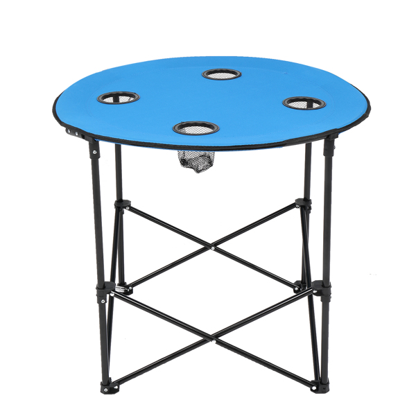 Oxford Cloth Steel Round Outdoor Folding Table Blue