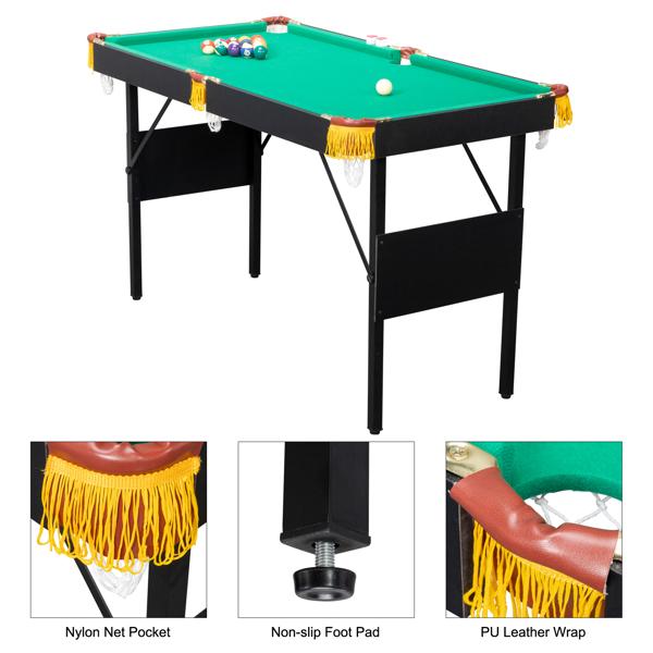119*66*73cm Foldable Billiard Table Green