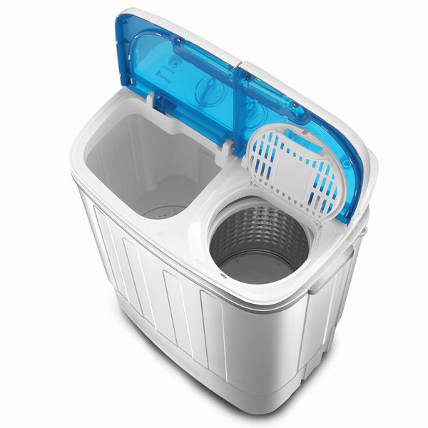 ZOKOP Compact Twin Tub with Built-in Drain Pump XPB46-RS4 13Lbs Semi-automatic Twin Tube Washing Machine US Standard White & Blue