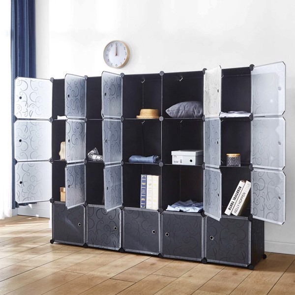 """14"""" x 14"""" Cube Storage Organizer with Doors, 20 Cubes Portable Closet Storage Cube Wardrobe Armoire, DIY Modular Cabinet Shelves, Storage for Clothes, Books, Shoes, Toys"""