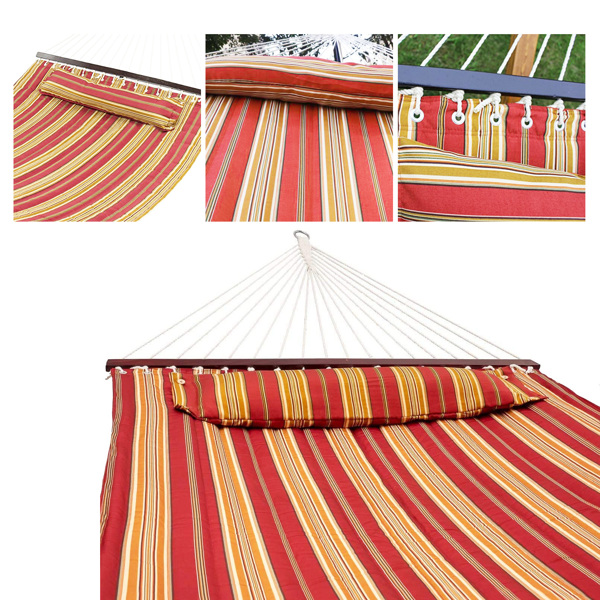 2 Person Hammock, Lengthen and Thicken Quilted Fabric Outdoor Hammock with Spreader Bars Heavy Duty 450 Pound Capacity Net Weight 10.29 lbs