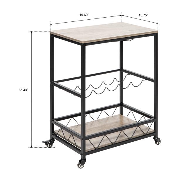 Bar Serving Cart Home Mobile Kitchen Serving cart,Industrial Vintage Style Wood Metal Serving Trolley