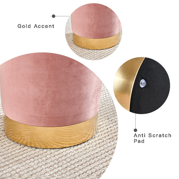 Vanity Ottoman Footstool Velvet Round Vintage Pouffe Stool, Upholstered Dressing Table Stool with Gold Metal Base Change Shoe Footrest for Living Room Bedroom (Pink)