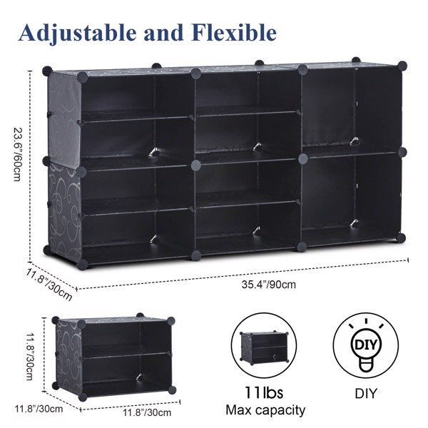 Portable Shoe Rack Organizer 10 Cube Organizer Stackable Plastic Cube Storage Shoe Rack 4 Tier Storage Shoe Cabinet for 18 Pair for Heels, Boots, Slippers
