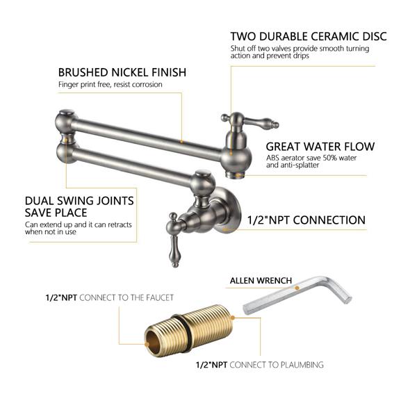 Folding faucet  Pot Filler Faucet Wall Mount