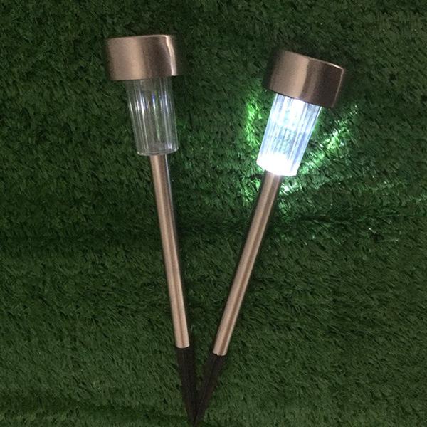12 pcs Garden Outdoor Stainless Steel LED Solar Landscape Street Lamp Courtyard Lamp White Light