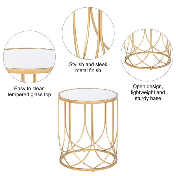 FCH End Table Side Table Glass Top Metal Frame Geo Eyelet Pattern Accent Table for Living Room Golden