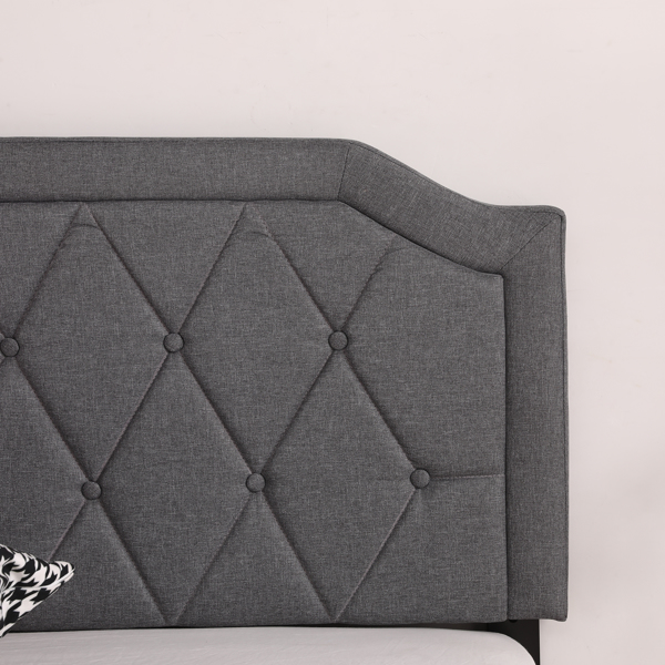 Full Adjustable Headboard Height Cotton And Linen Soft-Packed Bed Dark Gray