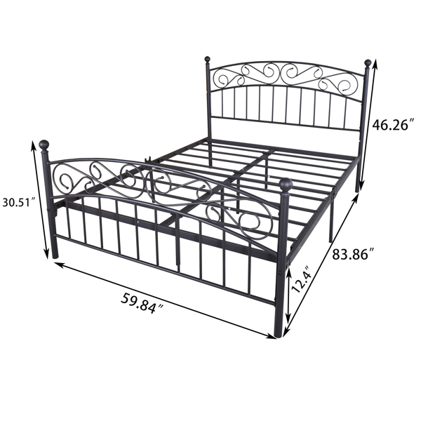 Metal bed frame platform mattress foundation with headboard and footrest, heavy duty and quick assembly, Queen Black