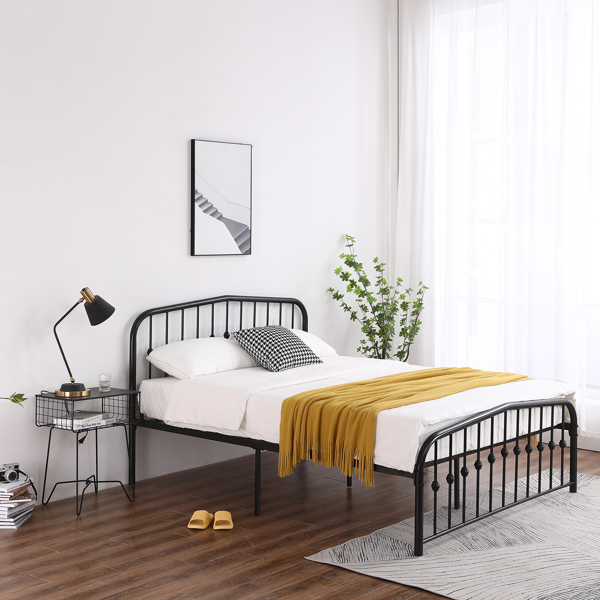 Single-Layer Curved Frame Bed Head and Foot Center Raised Vertical Pipe with Ball Decoration Full Black Iron Bed