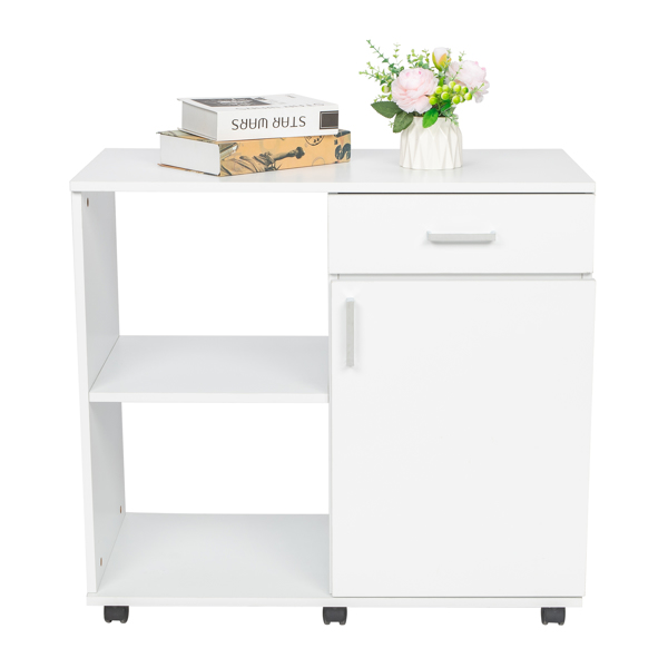 Three Layers Left Frame Right Cabinet MDF And PVC Wooden Filing Cabinet White