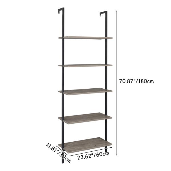 5-Shelf Wood Ladder Bookcase with Metal Frame, Industrial 5-Tier Modern Ladder Shelf Wood Shelves,Gray