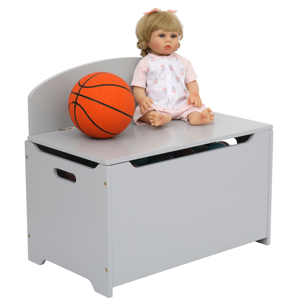 Wooden Toy Box and Storage Chest,Entryway Bench with 2 Safety Hinges,Gray Color