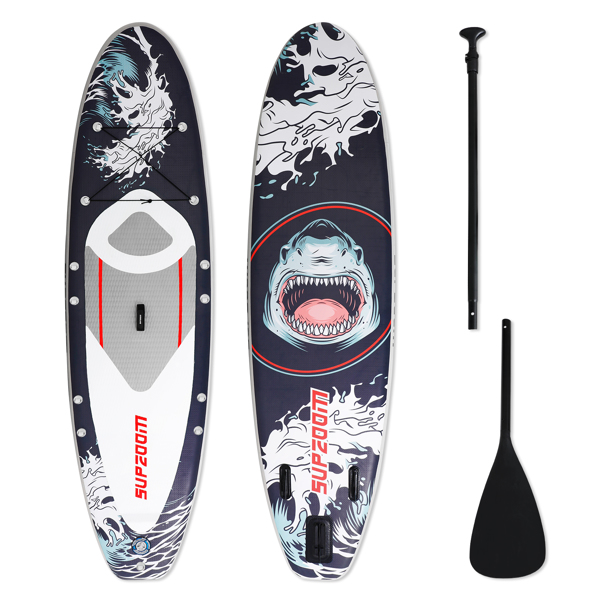 """SUPZOOM Shark Style Inflatable 10'6×32""""×6"""" SUP for All Skill Levels Everything Included with Stand Up Paddle Board, Paddle, Hand Pump, ISUP Travel Backpack, Leash, Waterproof Bag, Repair Kit"""