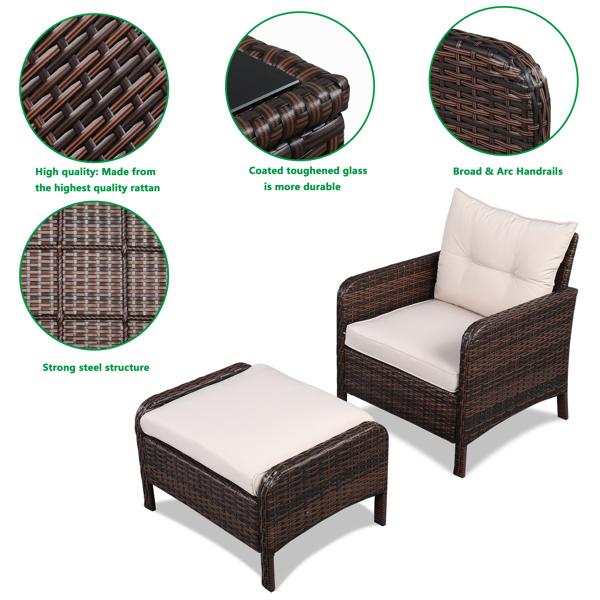 2pcs Single Sofa、2pcs Footstool &1pc Coffee Table  Round Corner Armrests Five-Piece Rattan Set Brown Gradient
