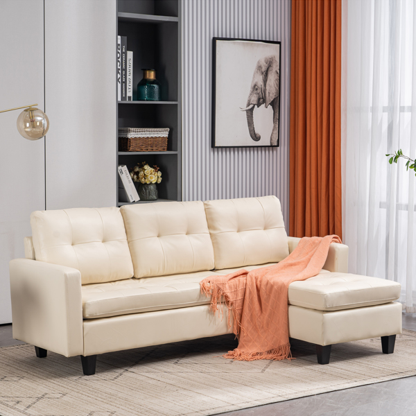 L-shaped Disassembly, Backrest Pull Point, Variable Combination, Three-seat Indoor Sofa, Solid Wood Soft Bag PU 194*67*83cm White Simple Nordic Style N101
