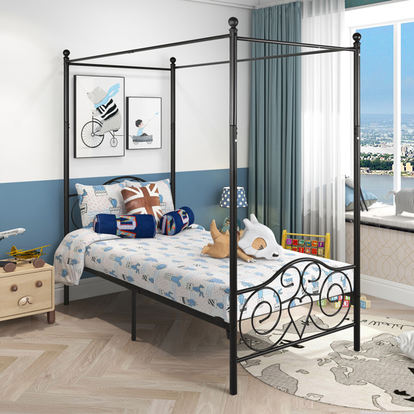 Metal Canopy Bed Frame with Vintage Style Headboard & Footboard Sturdy Steel Holds 400lbs Perfectly Fits Your Mattress Easy DIY Assembly All Parts Included, Twin Black