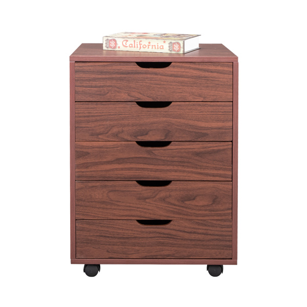 Five Drawers MDF With PVC Wooden File Cabinet Brown