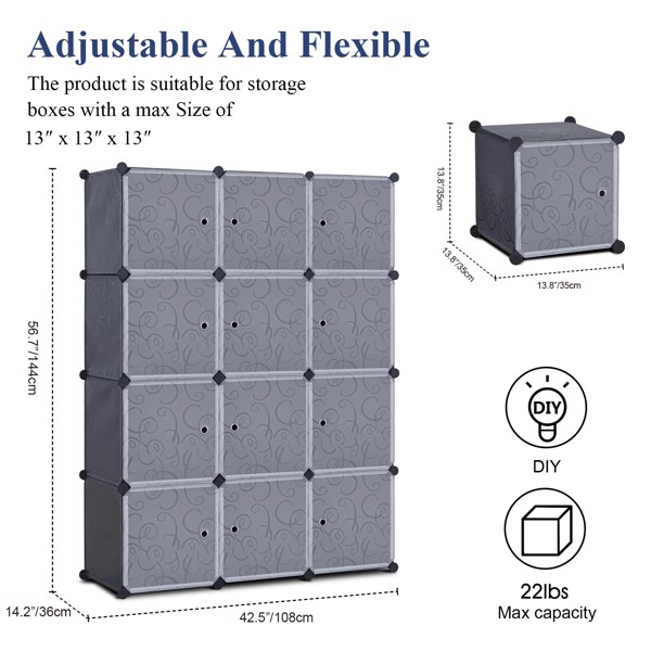 """CAMORSA 14"""" x 14"""" 12 Cubes Storage Organizer with Doors - Add Metal Panel, Portable Closet Storage Cube Wardrobe Armoire, DIY Modular Cabinet Shelves, Storage for Clothes, Books, Shoes, Toys"""