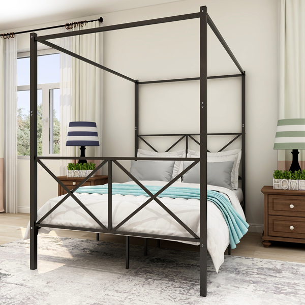 Metal Canopy  Full Size Platform Bed Frame with X Shaped Frame