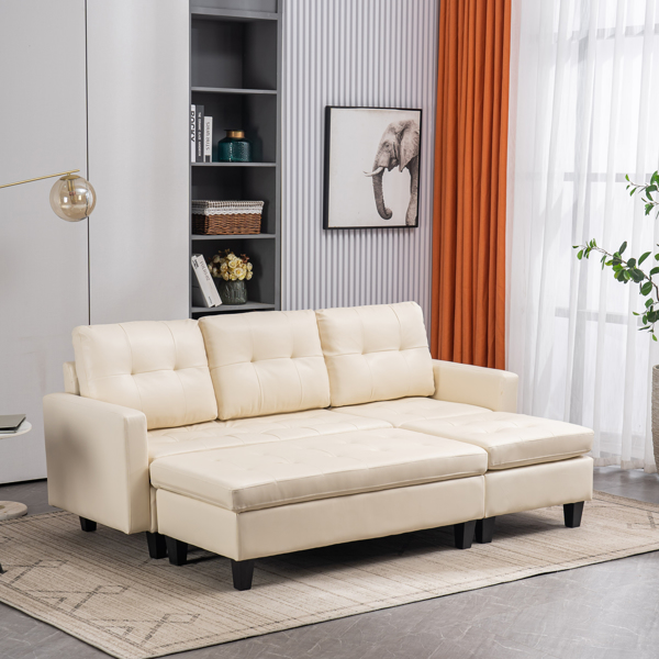 L-shaped Disassembly, Backrest Pull Point, Variable Combination, Three-seat Indoor Sofa, Solid Wood Soft Bag PU 3-2 194*67*83cm White Simple Nordic Style N101