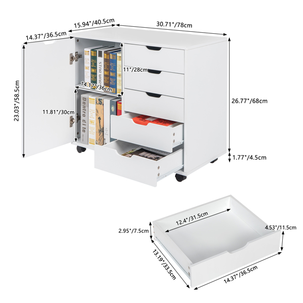 Single Door Five Drawers MDF With PVC Wooden Filing Cabinet White