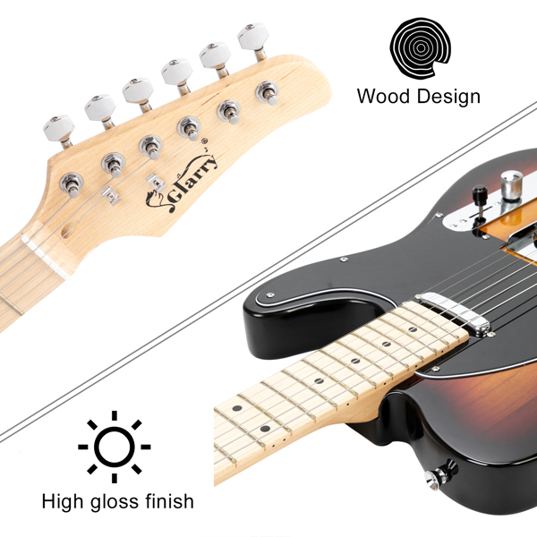 【Do Not Sell on Amazon】Glarry GTL Maple Fingerboard Electric Guitar with 20W Amplifier Bag Strap Plectrum Connecting Wire Spanner Tool Sunset Color