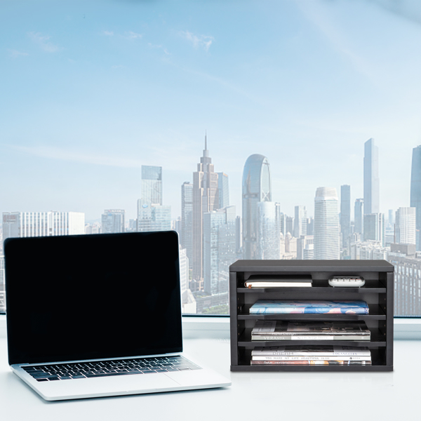 Desk File Sorter Organizer, Document Letter Mail Tray Sorter with 4 Adjustable Shelves Home Office, Black