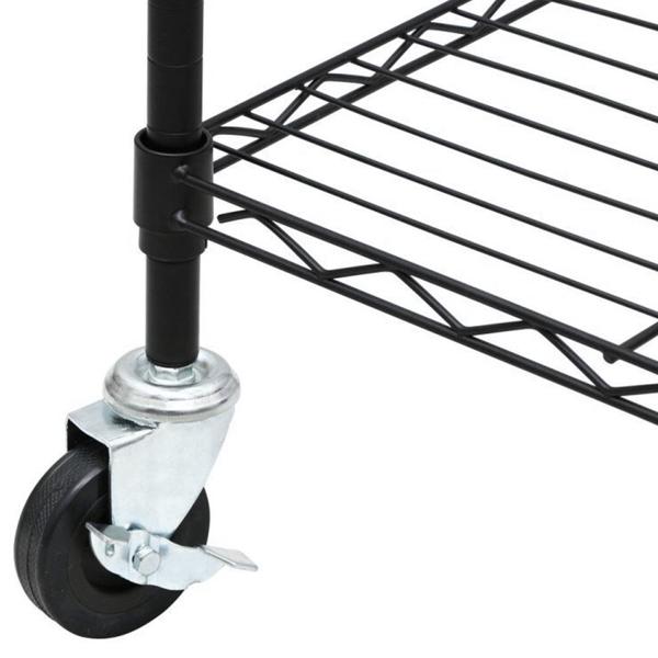 5-Tier NSF-Certified Steel Wire Shelving with Wheels Black