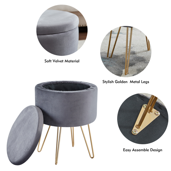 Round Velvet Footrest Stool Ottoman, Upholstered Vanity Chair Pouffe with Storage Function Seat/Tray Top Coffee Table Seat Dressing Chair with Golden Metal Leg Grey