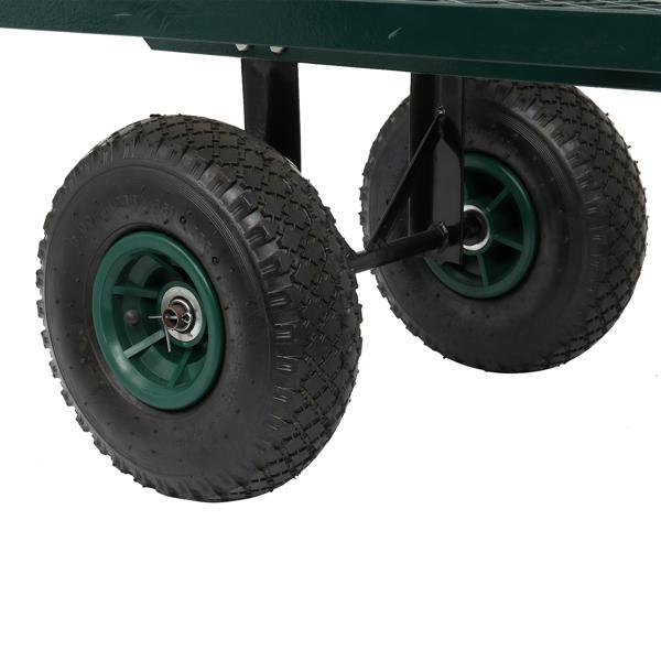 86*46*97cm Garden Iron Wood Four Wheel Square Garden Wagon Green