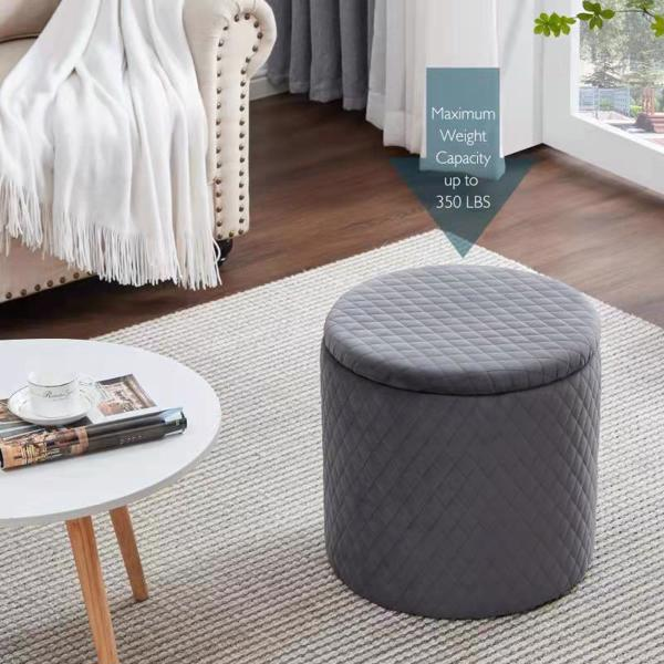 45cm Velvet Round Footstool Storage Ottoman Stool, Oversized Padded Seat Pouffes Vanity Chair with Lattice Design Lids Footrest for Living Room Bedroom (Grey)